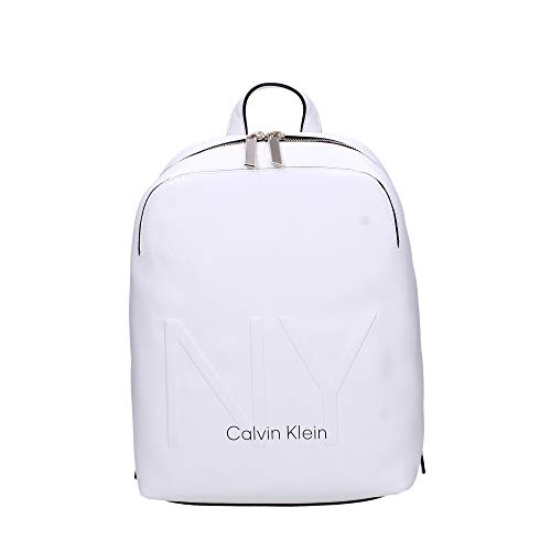 Calvin Klein Shaped Backpack - Zaini Donna, Bianco (White),...