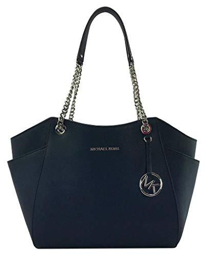 Michael Kors Jet Set Travel Large Chain Shoulder Bag Navy Blue Leather...