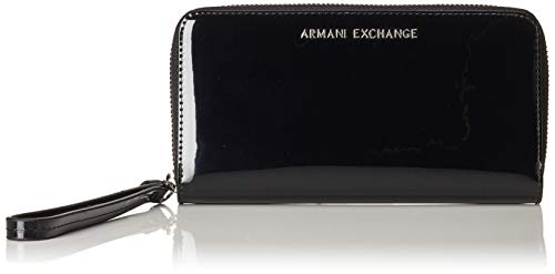 ARMANI EXCHANGE Zip-around Wristlet Wallet - Portafogli Donna, Nero...