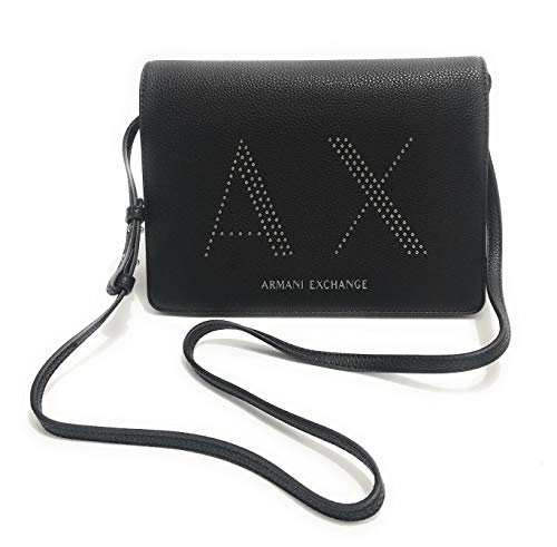 ARMANI EXCHANGE Borsa donna tracolla cross body bag ecopelle nero con...