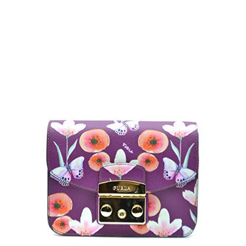 FURLA Borsa a tracolla Metropolis Mini in pelle viola con fiori e...