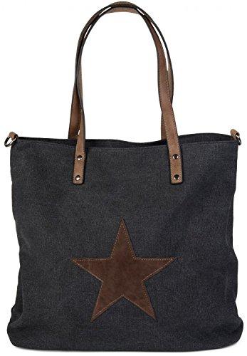 styleBREAKER borsa da shopping in tela con stella cucita, tracolla,...