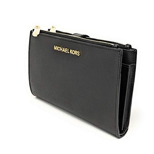 Michael Kors Jet Set Travel double Zip Wristlet (Black Saffiano)