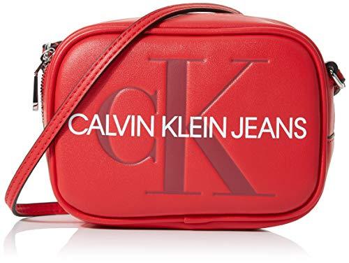 Calvin Klein Sculpted Monogram Camera Bag - Borsa, Donna, Rosso...