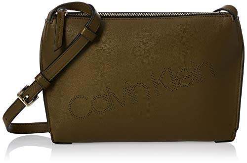 Calvin Klein Punched Ew Xbody - Borse a tracolla Donna, Verde (Drk...