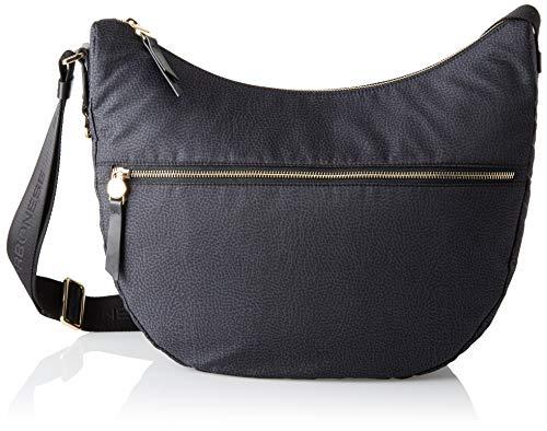 Borbonese Luna Bag, Borsa a Tracolla Donna, Nero, 35x38x15 cm (W x H x...