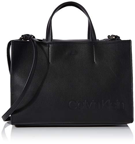 Calvin Klein Attached Tote - Borse a tracolla Donna, Nero (Black),...