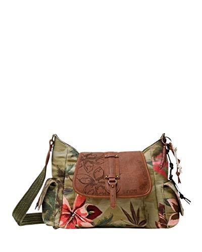 Desigual Fabric Shoulder Bag, Borsa a Tracolla. Donna, Verde, U