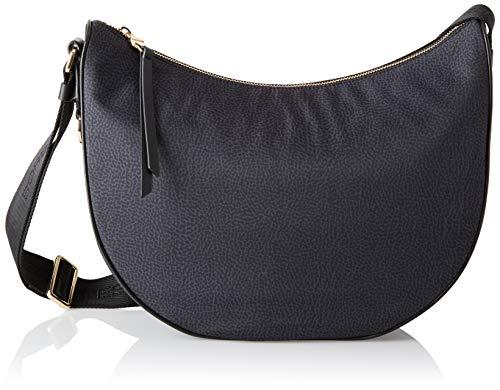 Borbonese Luna Bag, Borsa a Tracolla Donna, Nero, 30x32x12 cm (W x H x...