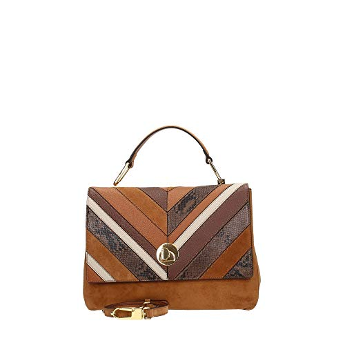 Coccinelle Liya Chevron Top Handle Bag Mult. Caramel