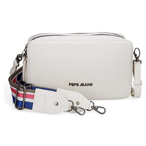 Pepe Jeans Tracolla doppio scompartimento Eva Bianco, 25x18x6,5 cms