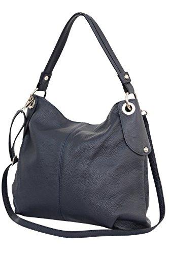 Ambra Moda GL012 - Borsa a tracolla da donna in vera pelle, Blu (Blu...