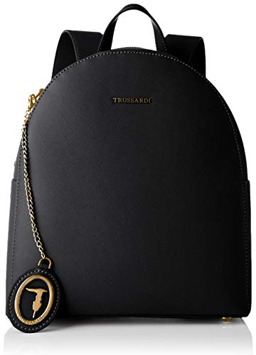 Trussardi Jeans, MOSCA BACKPACK MD SAFFIANO ECO Donna, Black, NR