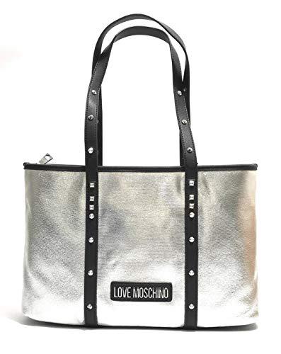 Moschino Borsa donna Love shopper in canvas argento pu nero BS20MO59
