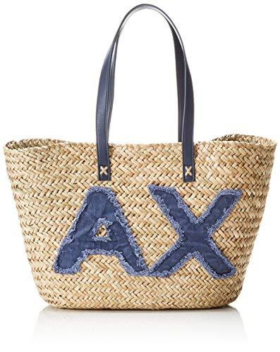 ARMANI EXCHANGE Natural Straw Bag - Borsa da spiaggia Donna, Blu...