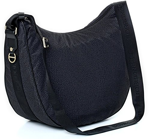 Borsa a tracolla Borbonese Luna Bag medium in Jet op nero