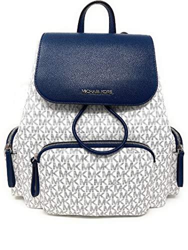 Michael Kors Large Abbey Cargo Backpack Bright White Signature PVC...