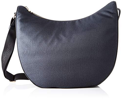 Borbonese Luna Bag Medium, Borsa a Spalla Donna, Nero (Nero), 35x38x15...